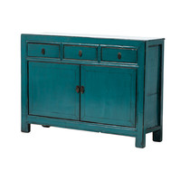 PREORDER 28/12/2020 Antique Chinese Sideboard Glossy Blue W126xD39xH91cm