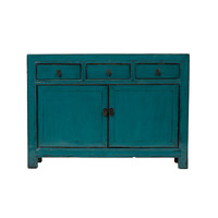 Antique Chinese Sideboard Glossy Blue W126xD39xH91cm