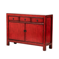 PREORDER 28/12/2020 Antique Chinese Sideboard Glossy Red W129xD38xH92cm