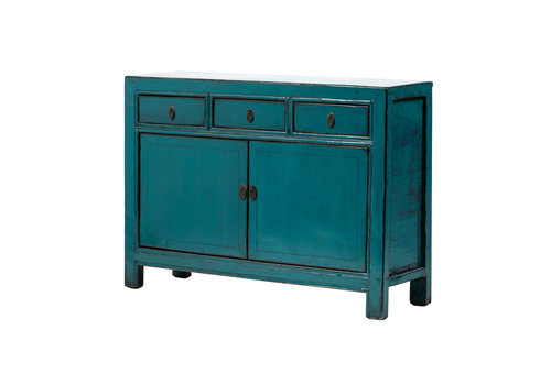 Fine Asianliving Antique Chinese Sideboard Glossy Teal W128xD38xH91cm