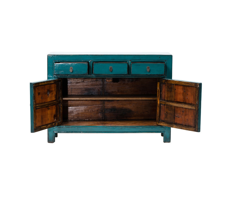 PREORDER 28/12/2020 Antique Chinese Sideboard Glossy Teal W128xD38xH91cm