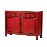 PREORDER 28/12/2020 Antique Chinese Sideboard Glossy Red W128xD39xH92cm