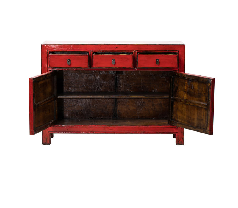 Antique Chinese Sideboard Glossy Red W128xD39xH92cm