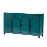 PREORDER 28/12/2020 Antique Chinese Sideboard Glossy Teal W152xD40xH90cm