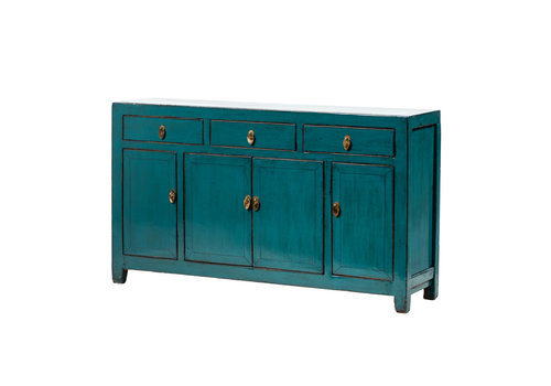Fine Asianliving Antique Chinese Sideboard Glossy Teal W152xD40xH90cm