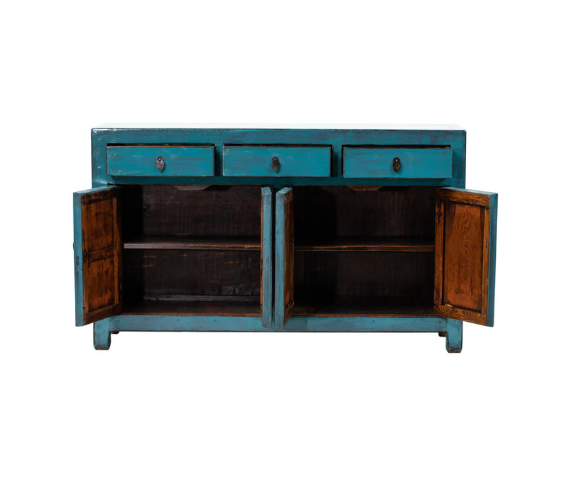 Antique Chinese Sideboard Glossy Teal W152xD40xH90cm