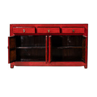 PREORDER 28/12/2020 Antique Chinese Sideboard Glossy Red W158xD41xH91cm