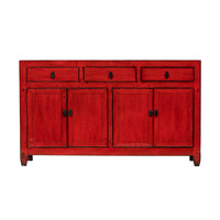 Antique Chinese Sideboard Glossy Red W154xD40xH91cm
