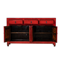 PREORDER 28/12/2020 Antique Chinese Sideboard Glossy Red W154xD40xH91cm