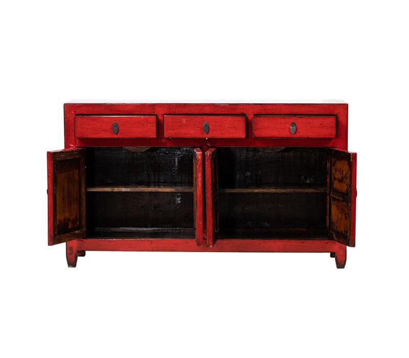 Antieke Chinese Dressoir Glanzend Rood B154xD40xH91cm
