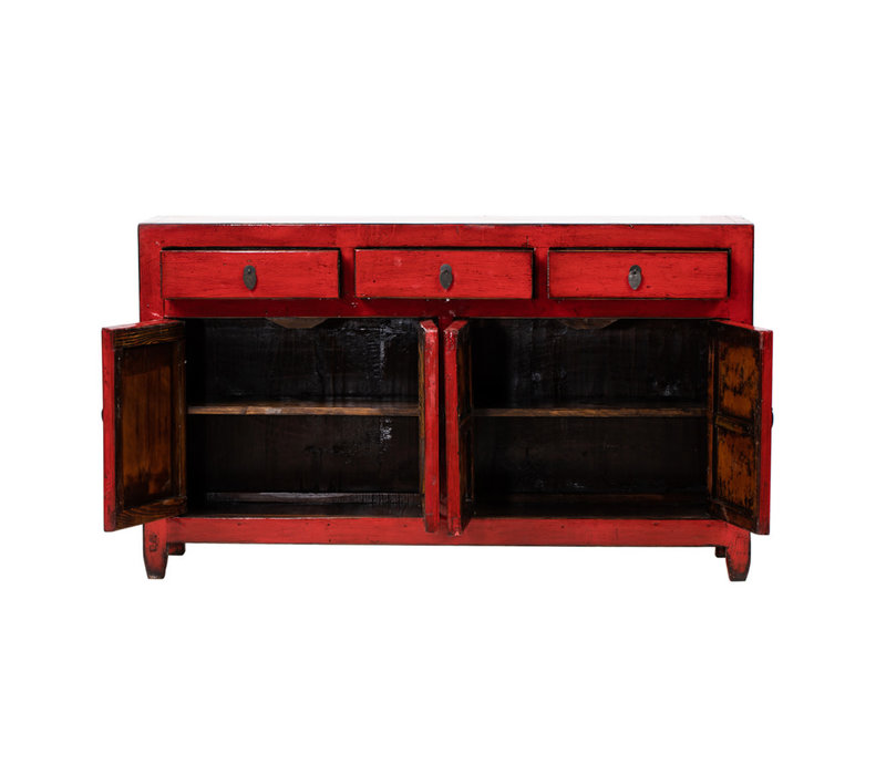 Credenza Cinese Antica Rossa L154xP40xA91cm