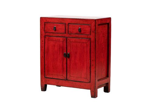 Fine Asianliving Armario Chino Antiguo Rojo Brillante Anch.76 x Prof.39 x Alt.92 cm