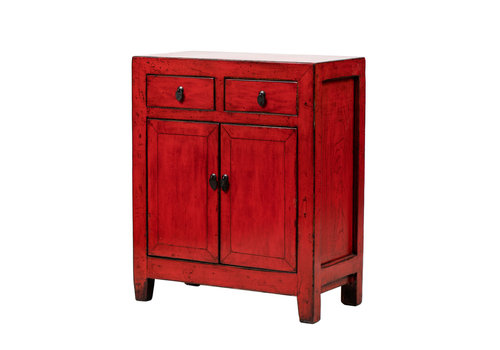 Fine Asianliving PREORDER 28/12/2020 Antique Chinese Cabinet Glossy Red W76xD39xH92cm