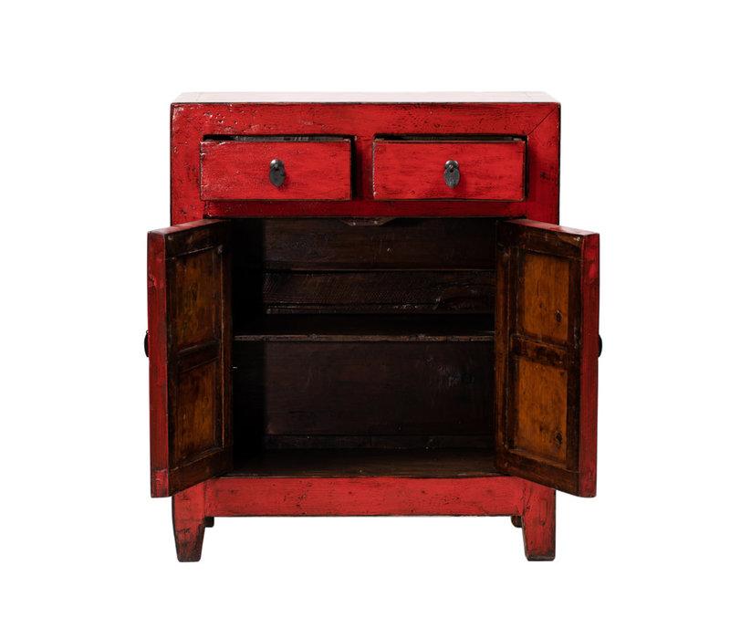 Antiker Chinesischer Schrank Glänzend Rot B76xT39xH92cm