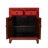 Antique Chinese Cabinet Glossy Red W76xD39xH92cm