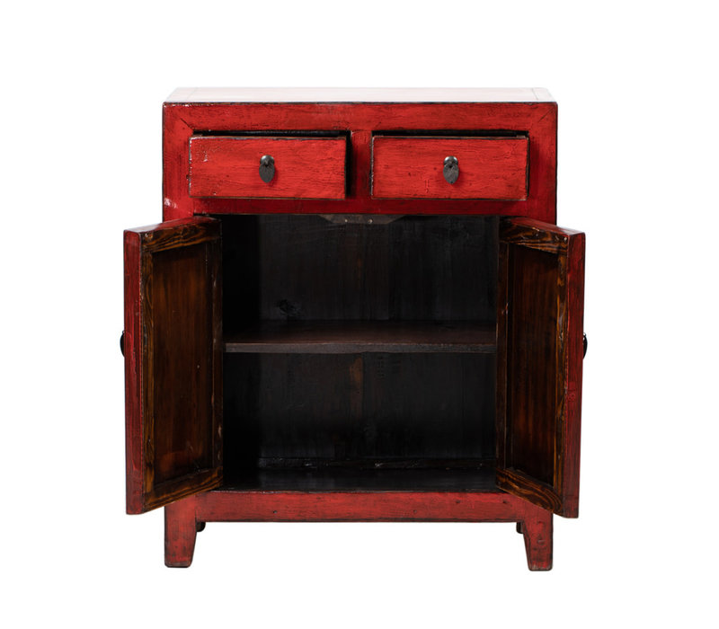 PREORDER 28/12/2020 Antique Chinese Cabinet Glossy Red W76xD39xH92cm