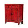 Fine Asianliving Antiker Chinesischer Schrank Glänzend Rot B77xT39xH90cm