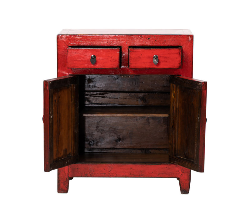 PREORDER 28/12/2020 Antique Chinese Cabinet Glossy Red W77xD39xH90cm