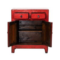 Antique Chinese Cabinet Glossy Red W77xD39xH90cm