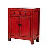 Fine Asianliving Antiker Chinesischer Schrank Glänzend Rot B76xT39xH90cm