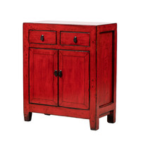PREORDER 28/12/2020 Antique Chinese Cabinet Glossy Red W76xD39xH90cm