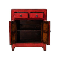 Antiker Chinesischer Schrank Glänzend Rot B76xT39xH90cm