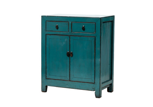 Fine Asianliving PREORDER 28/12/2020  Antique Chinese Cabinet Glossy Teal W77xD39xH89cm
