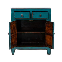PREORDER 28/12/2020  Antique Chinese Cabinet Glossy Teal W77xD39xH89cm