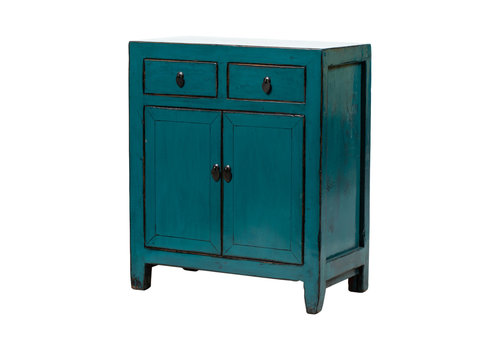 Fine Asianliving Antique Chinese Cabinet Glossy Blue W77xD39xH89cm
