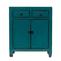 Antique Chinese Cabinet Glossy Blue W77xD39xH89cm