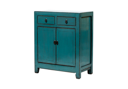 Fine Asianliving Antique Chinese Cabinet Glossy Teal W77xD39xH92cm