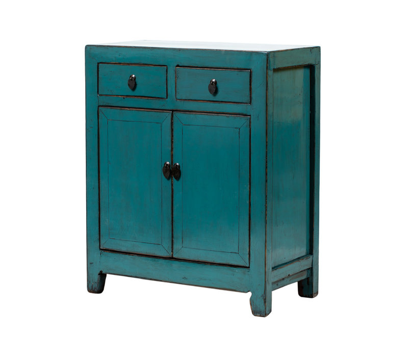 PREORDER 28/12/2020 Antique Chinese Cabinet Glossy Blue W77xD39xH92cm