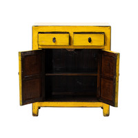 Antique Chinese Cabinet Glossy Yellow W77xD40xH92cm
