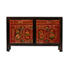 Fine Asianliving Antieke Chinese Dressoir Handgeschilderd Bloemen B138xD37xH86cm