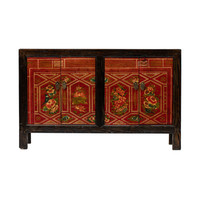 Antique Chinese Sideboard Hand-painted Flowers W138xD37xH86cm