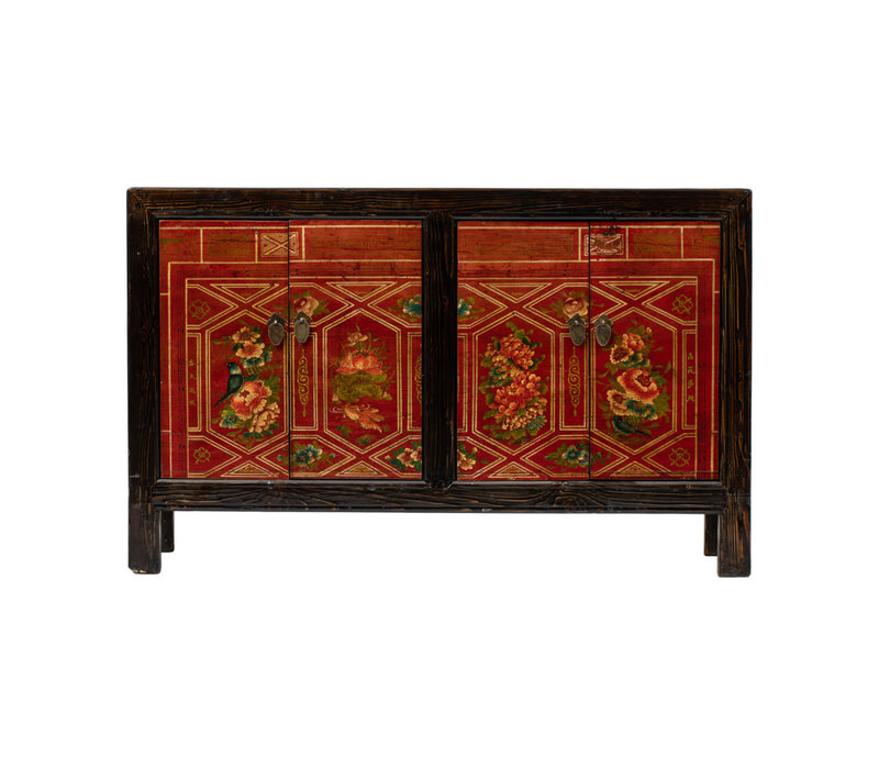 Antique Chinese Sideboard Handpainted Flowers W138xD37xH86cm