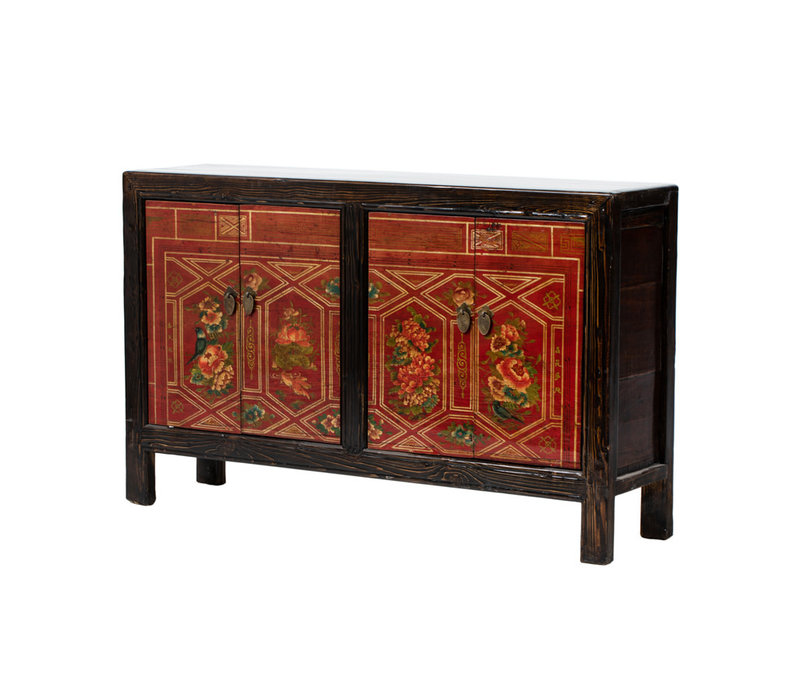 PREORDER 28/12/2020 Antique Chinese Sideboard Handpainted Flowers W138xD37xH86cm