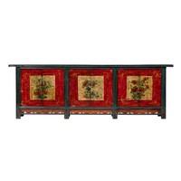 Credenza Cinese Antica Fiori Dipinti a Mano L274xP43xA92cm