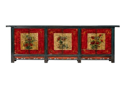 Fine Asianliving Antique Chinese Sideboard W274xD43xH92cm Handpainted Flowers