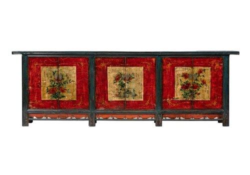 Fine Asianliving Buffet Chinois Antique Peint à la Main Fleurs L274xP43xH92cm