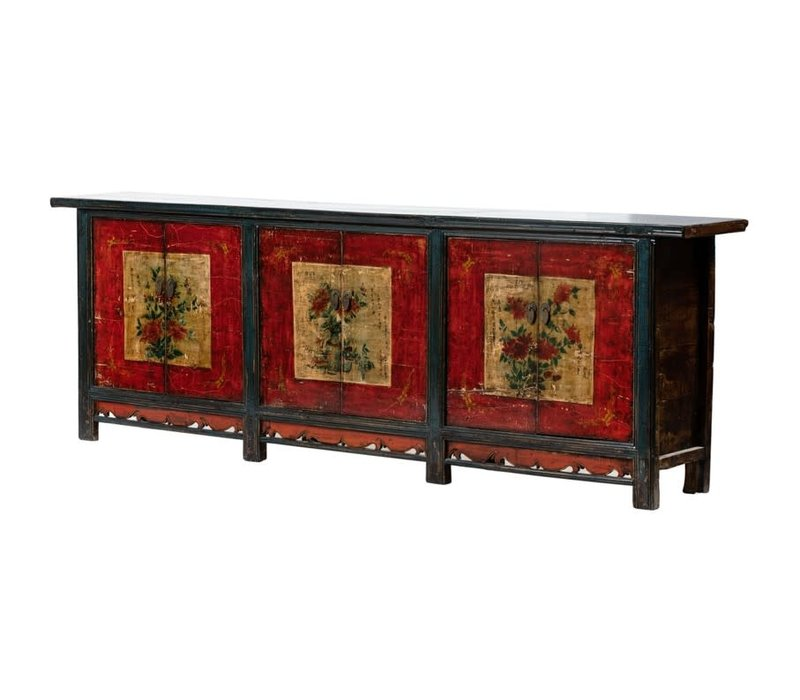 PREORDER 28/12/2020 Antique Chinese Sideboard W274xD43xH92cm Handpainted Flowers