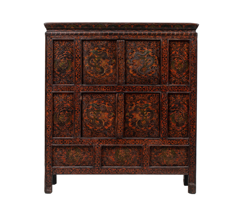 PREORDER 28/12/2020 Antique Tibetan Cabinet Handcarved Dragons W108xD51xH119cm