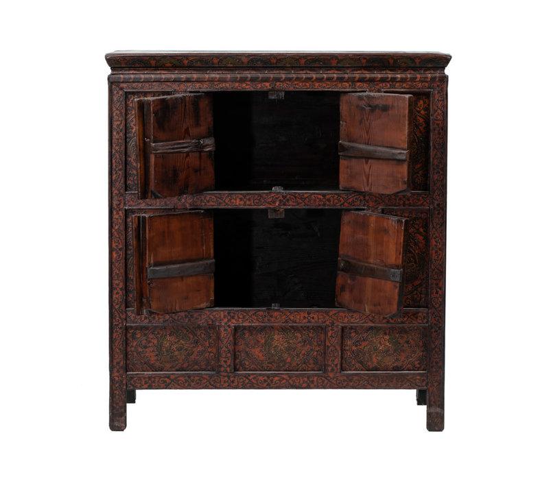 Antique Tibetan Cabinet Hand-carved Dragons W108xD51xH119cm