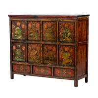 PREORDER 28/12/2020 Antique Tibetan Cabinet Handpainted Animals W142xD49xH120cm