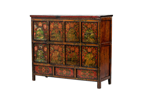 Fine Asianliving PREORDER 28/12/2020 Antique Tibetan Cabinet Handpainted Animals W142xD49xH120cm