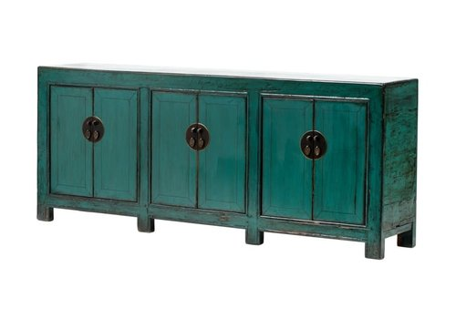 Fine Asianliving Antique Chinese Sideboard W213xD42xH88cm Glossy Teal
