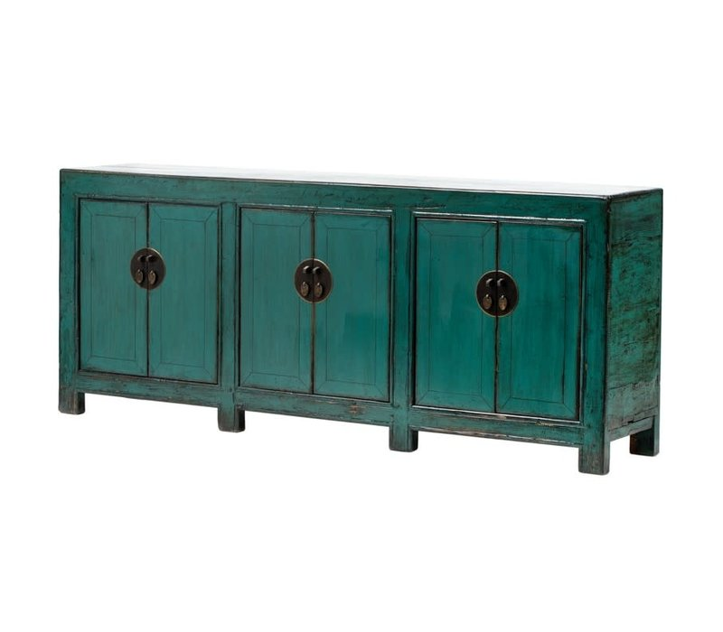 Antieke Chinese Dressoir B213xD42xH88cm Glanzend Groenblauw