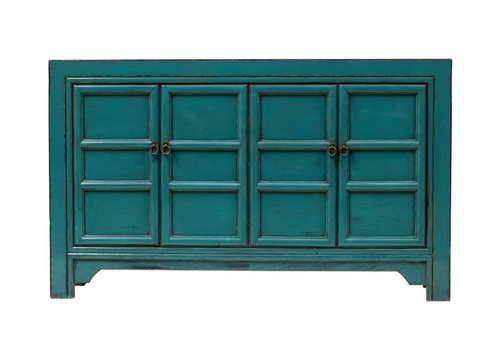 Fine Asianliving Chinese Sideboard Glossy Blue W150xD40xH89cm