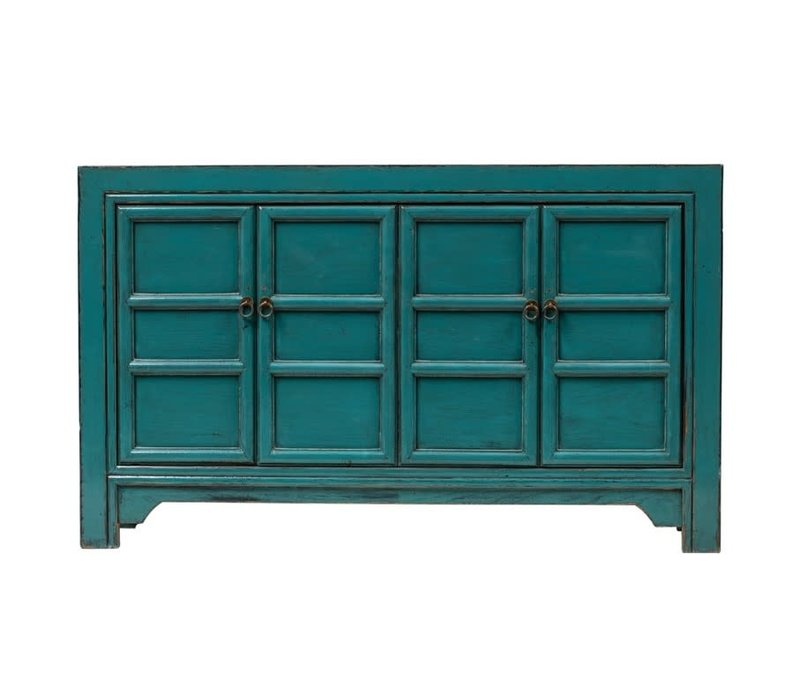 PREORDER 28/12/2020 Chinese Sideboard Glossy Blue W150xD40xH89cm