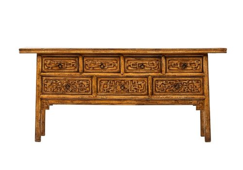 Fine Asianliving Antique Chinese Console Table W175xD45xH81cm Handcarved Flowers